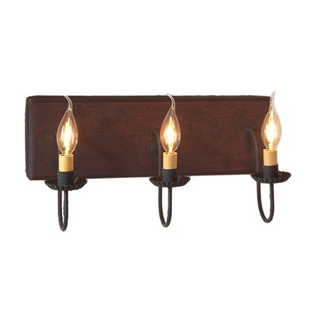 Three Arm Vanity Light in Hartford Red over - Hartford Bath Fixture