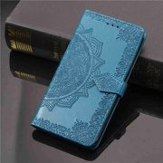 Dteck For iPhone 6 6s [Flower Embossed] PU Leather Wallet Flip Folio Protective Case Cover with Card Holder and Stand, Blue