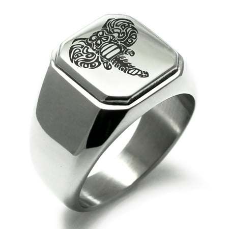 Stainless Steel Juggernaut Elephant Engraved Square Flat Top Biker Style Polished Ring