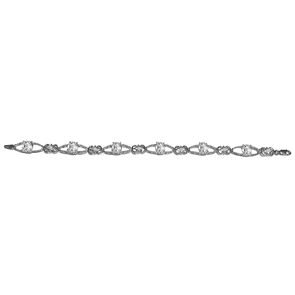6.00 Carat Eye Shape CZ Bracelet in 925 Sterling Silver - image 2 de 2