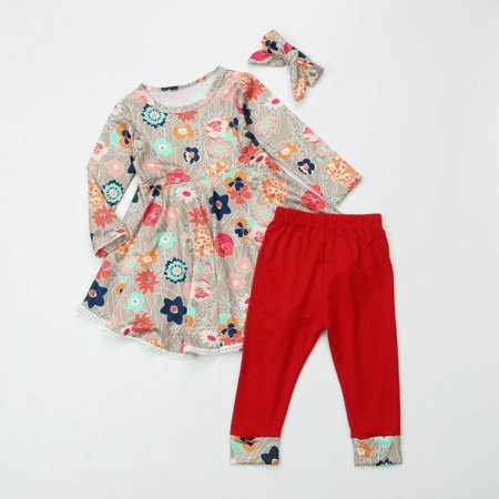 Toddler Baby Girl Xmas Flower Top Dress Long Pants Headband 3Pcs Outfits Clothes (Flower Power Outfits)
