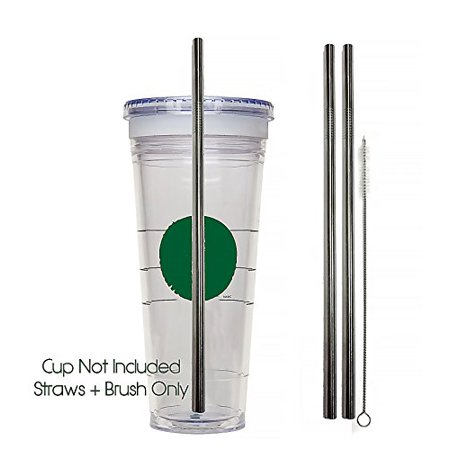Venti Travel Mug Replacement Straws- 2qty - Stainless Steel for Hot & Cold Venti Starbucks to-go cups