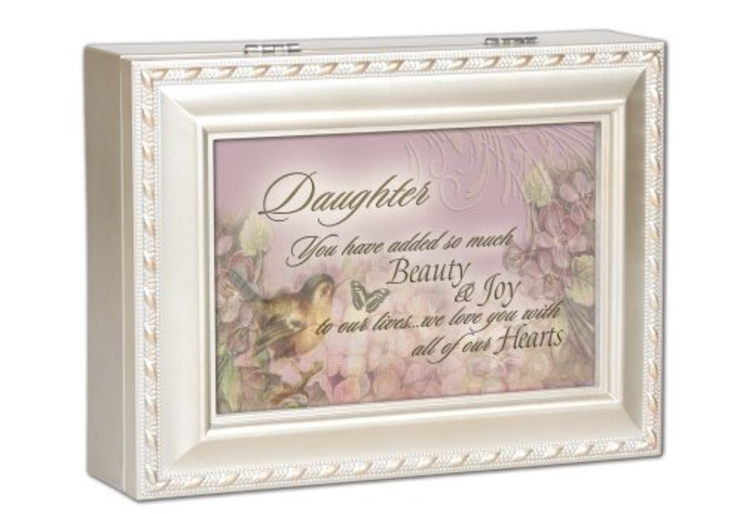 Daughter Joy Cottage Garden Champagne Silver Traditional Music Box Plays You Light Up My Life by
