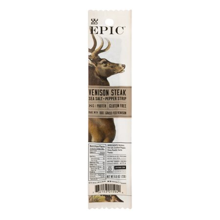 EPIC Venison Steak Sea Salt + Pepper Strip, 0.8