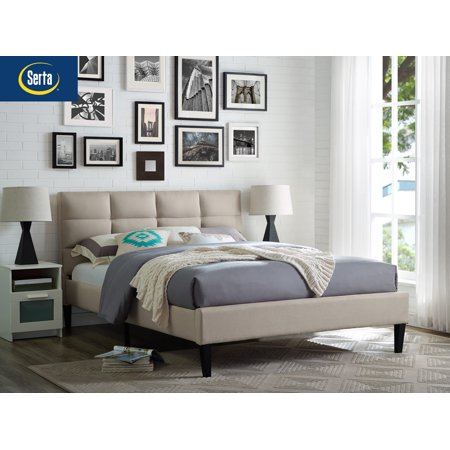 Lifestyle Solutions Serta Zola Upholstered Head & Footboard with Euro Slats in Queen, (Serta Euro Top)