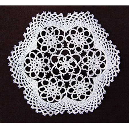 4-piece Handmade Tatting Lace Floral Cotton Coaster Doilies, 6-inch Round, (Stunning Handmade Coasters)