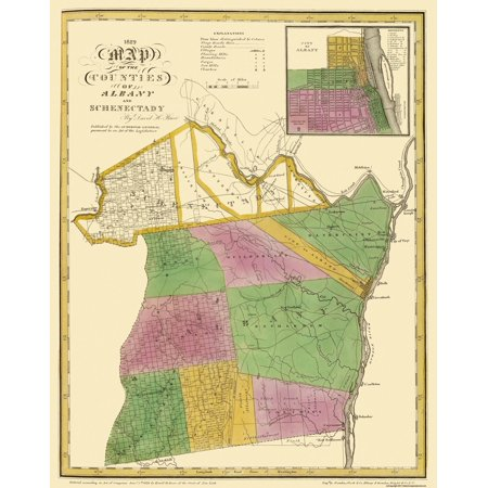 Old County Map - Albany, Schenectady New York - Burr 1829 - 23 x -