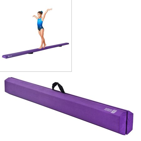 Modern-depo 9.5 Ft Balance Beam for Home Use | Gymnastic Sectional Foam Folding Training Low Beam for Girls, Boys, Teens - Pink/Purple