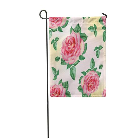 SIDONKU Beauty with Blooming Pink Roses and Leaves Watercolor on Light Yellow Bloom Blos Garden Flag Decorative Flag House Banner 28x40 inch ()