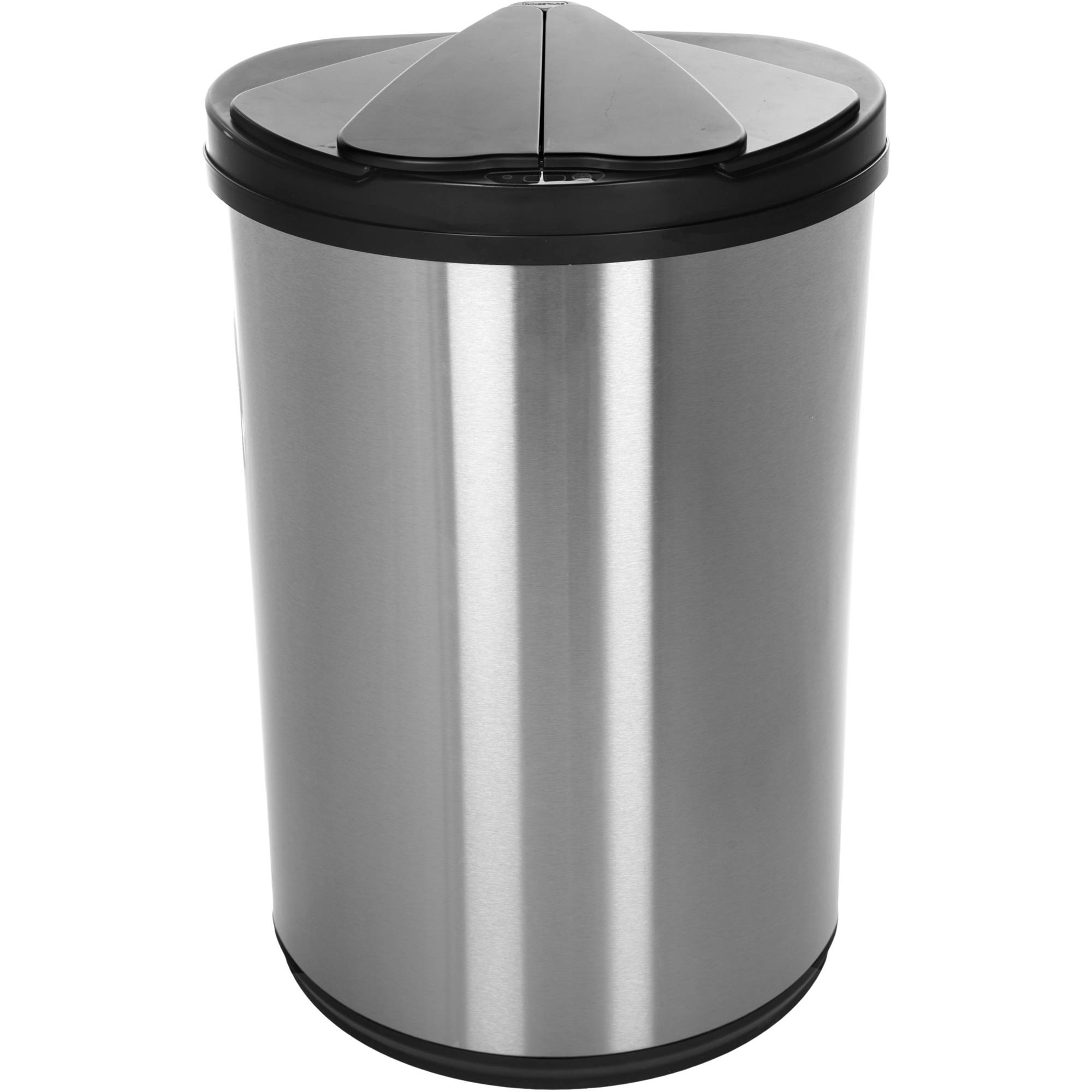 Nine Stars Stainless Steel Half Moon Sensored 12.4-Gallon Trash Can with Stainless Steel Lid