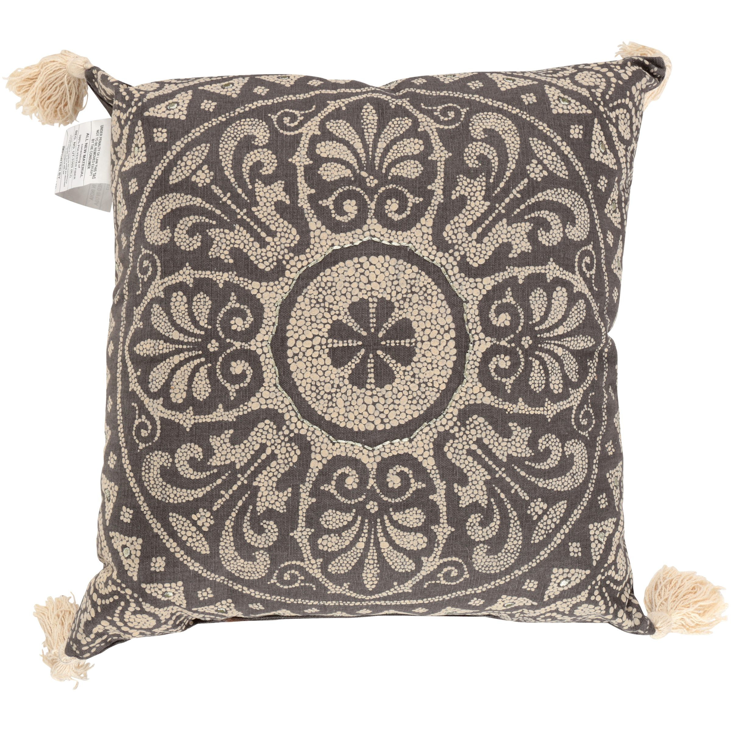 Better Homes & Gardens® Taupe Medallion Pillow with Tassels