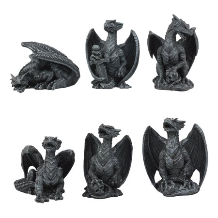 Ebros Six Faux Stone Gothic Mini Dragons Statue Set Myths Legends And Fantasy Action Dragon Figurine Collector Set