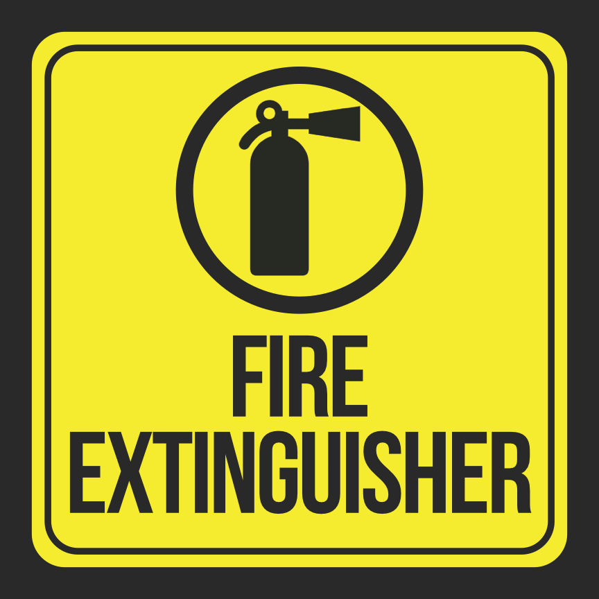 Aluminum Fire Extinguisher Print Picture Black Yellow Safety Notice Home Business Office Signs Commercial Metal, 12x12