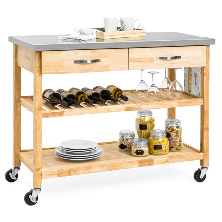 Best Choice Products 3-Tier Portable Wooden Rolling Kitchen Utility Storage Organizer Serving Bar Trolley Cart w/ Stainless Steel Top, Towel Rack, Locking Casters, Natural - Locking Media Cart