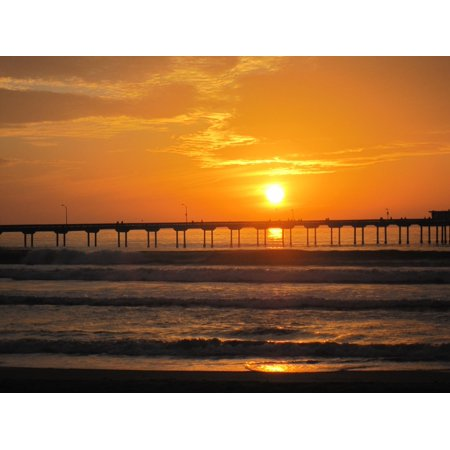 LAMINATED POSTER Pier San Diego Red Waves Ocean Beach Sunset Poster Print 24 x 36 - Halloween Displays San Diego
