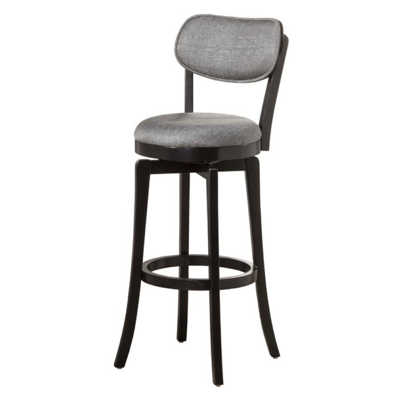 "Bowery Hill 30"" Swivel Bar Stool in Black and Gray"