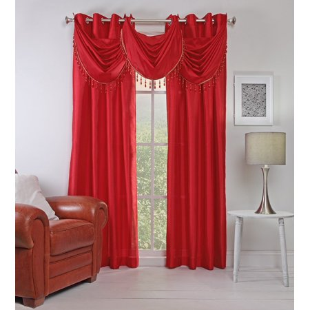 - Stylemaster Chelsea Grommet Waterfall Valance with Beaded Trim, 36-Inch by 37-Inch, Crimson