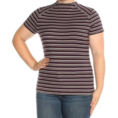 KENSIE Womens Purple Striped Short Sleeve Turtle Neck Top  Size: XL Short Sleeve Turtleneck Top