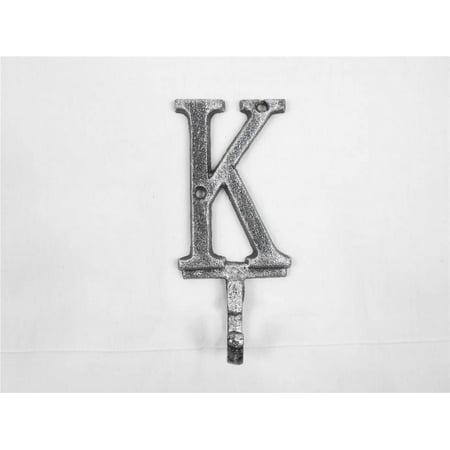 Rustic Silver Cast Iron Letter K Alphabet Wall Hook 6