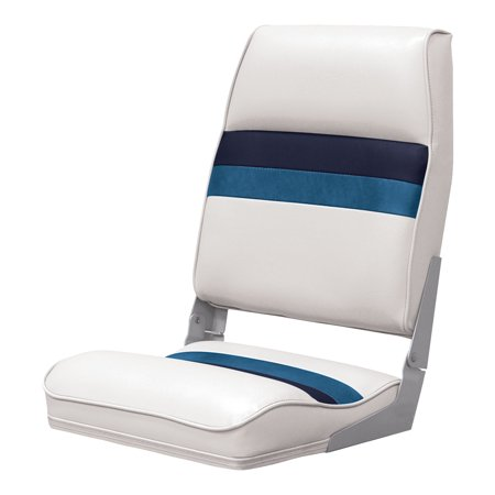 Wise 8WD434LS-1008 Deluxe Pontoon Series High Back Seat, White/Navy/Blue - Fly High Fat Seat