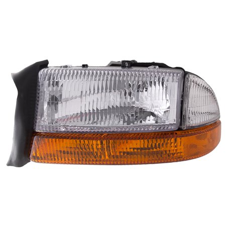 - 1997 Dodge Dakota/1997-1998 Durango Driver Headlight w/Park Signal Light Combo Left Halogen Headlamp Assembly CH2502117