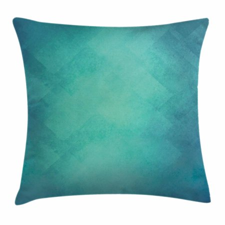Teal Throw Pillow Cushion Cover, Retro Inspired Grunge Style Abstract Pattern Vintage Design Calming Color Scheme, Decorative Square Accent Pillow Case, 18 X 18 Inches, Turquoise Blue, by Ambesonne