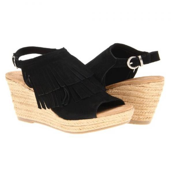 Minnetonka Women's Ashley Wedge Sandal, Black Suede, 9 M US by