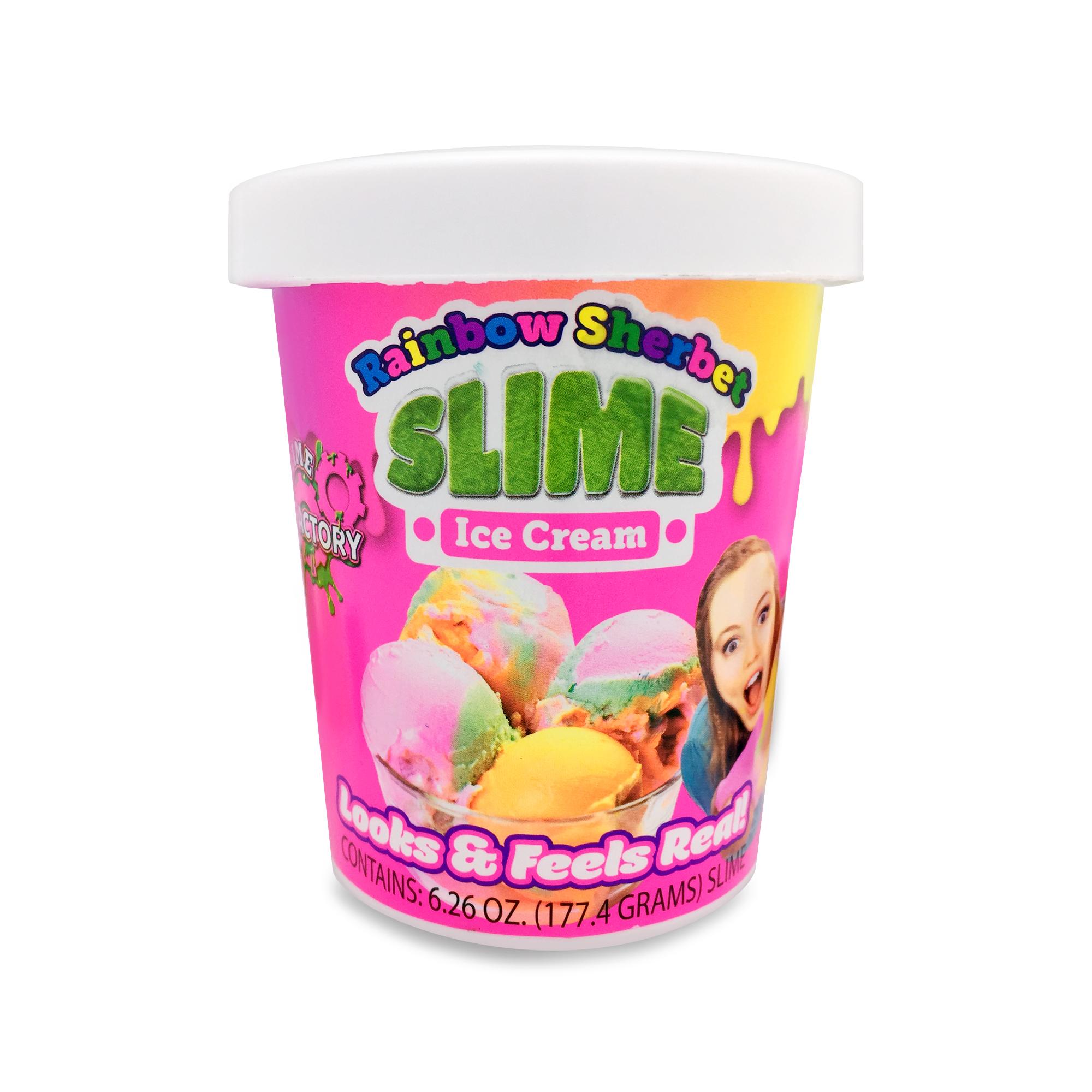2 pack ice cream slime strawberry and Rainbow Sherbert