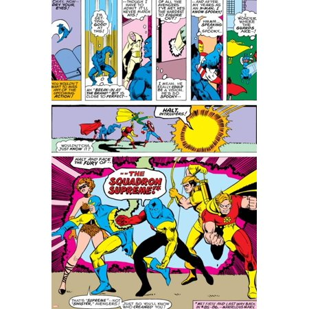 Avengers No.141 Group: Dr. Spectrum, Whizzer, Hyperion, Golden Archer and Squadron Supreme Poster Wall Art By George Perez (Avengers Archer)