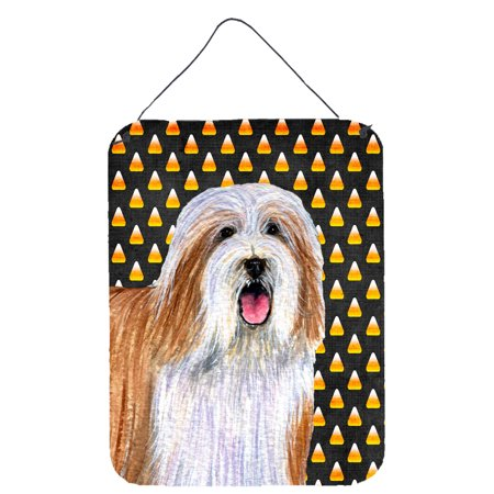 Bearded Collie Candy Corn Halloween Portrait Wall or Door Hanging - Halloween Portraits