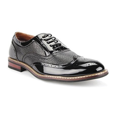 - Ferro Aldo Men's 139001P Formal Wing Tip Patent Leather Dress Oxfords Shoes
