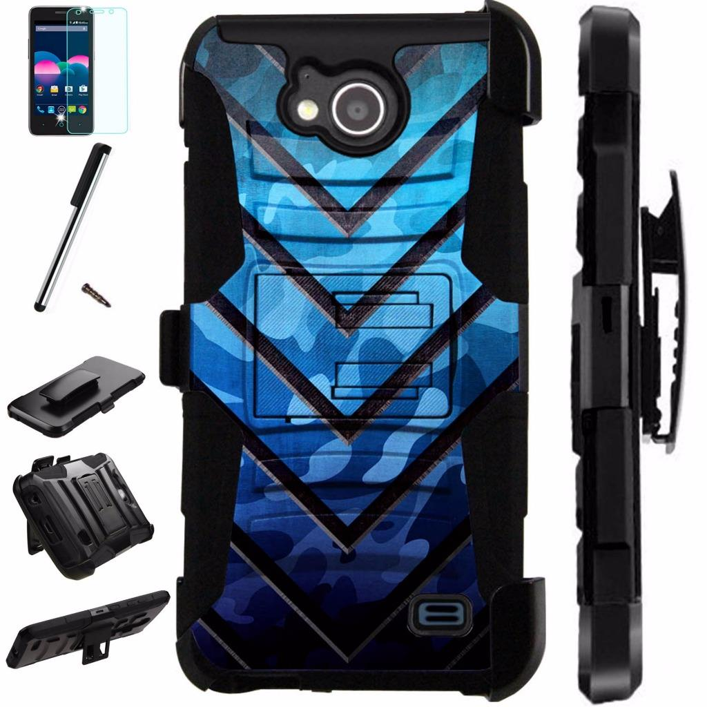 For ZTE Majesty Pro Plus LTE / ZTE Majesty Pro LTE / ZTE Tempo N9131 Case Armor Hybrid Silicone Cover Stand LuxGuard Holster Combo Pack (Metal V Blue)