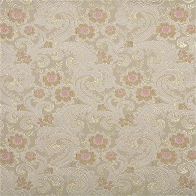 Designer Fabrics E390 54 in. Wide Gold, Pink And White, Paisley Floral Brocade Upholstery Fabric