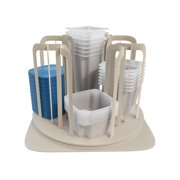 Storage Container Carousel Organizer ? Rotating Kitchen Cabinet and Pantry Stackable BPA Free Food Bowl and Lid Rack System by Chef Buddy