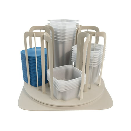 Storage Container Carousel Organizer – Rotating Kitchen Cabinet and Pantry Stackable BPA Free Food Bowl and Lid Rack System by Chef Buddy