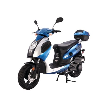 BLUE TAOTAO Powermax 150cc Moped Scooter with Sports Style, Hand Brake, Key and Kick Start, Rear Trunk