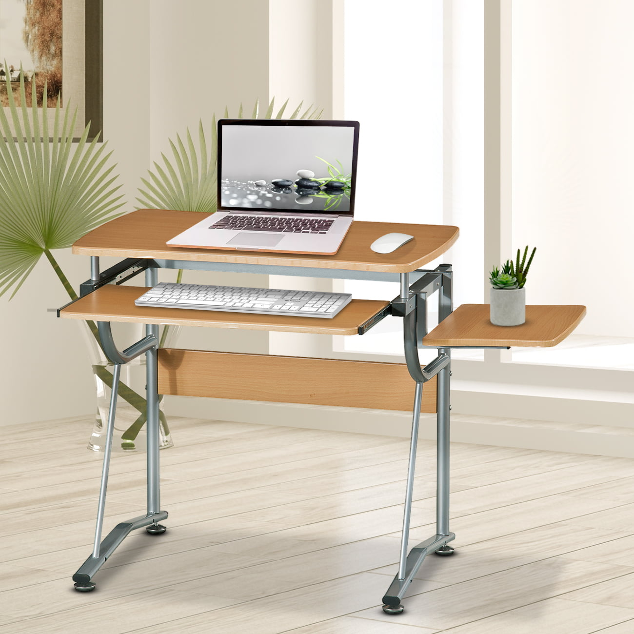 Techni Mobili Compact Computer Desk with Side Shelf, Cherry