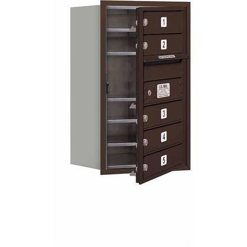 "Salsbury Industries 4C Horizontal Mailbox 7-Door High Unit (27""), Single Column, 5 MB1 Doors, Aluminum, Front Load, Private Access"