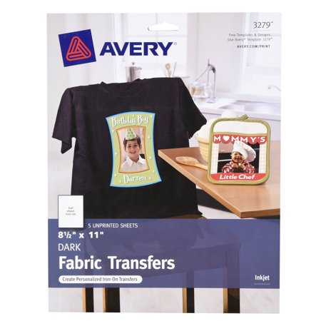 Avery R  Dark T Shirt Transfers For Inkjet Printers 3279  8 1 2  X 11   Pack Of 5