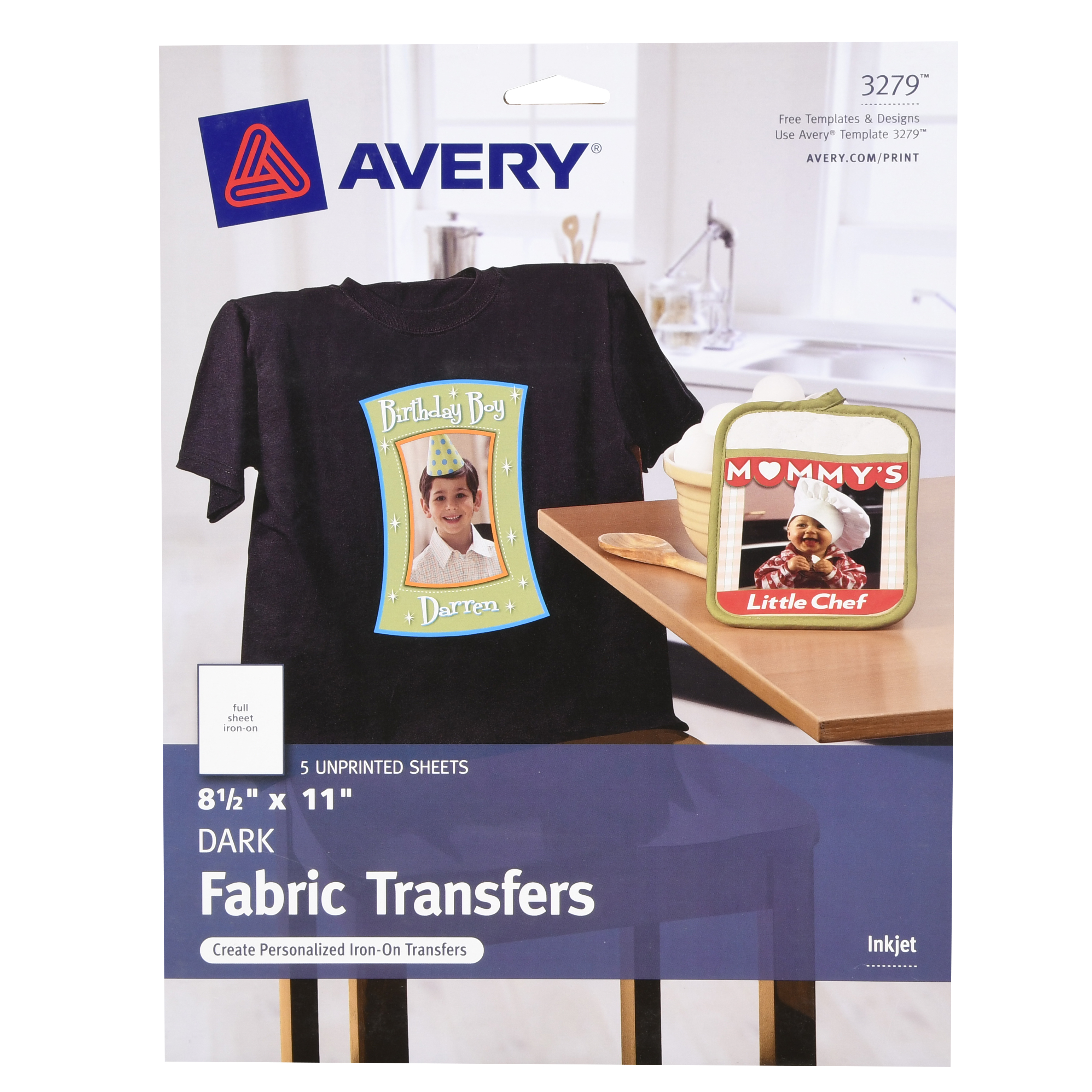 "Avery(R) Dark T-shirt Transfers for Inkjet Printers 3279, 8-1/2"" x 11"", Pack of 5"