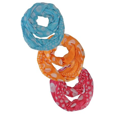 Polka Dot Infinity Fashion Scarf 3-Pack Wholesale Lot - Wholesale Diva