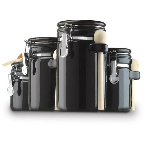 Anchor Hocking 4-Piece Ceramic Canister Set, Black