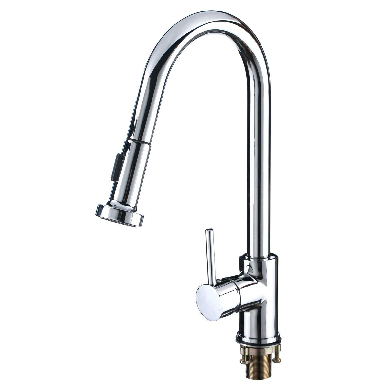 Kokols 16 Pull Out Spray Swivel Spout Chrome Kitchen Sink Faucet