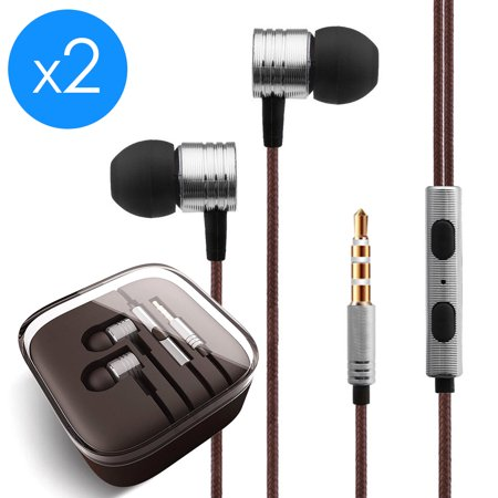 2-Pack FREEDOMTECH Earphones in Ear Headphones Earbuds with Microphone and  Volume Control for iPhone, iPod, iPad, Samsung Galaxy, Xaiomi and Android