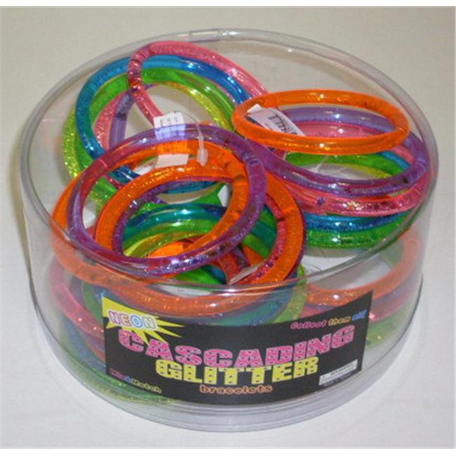 Nu-IMage International BA-324 Cascading Glitter Neon Bracelets, 12 Set by