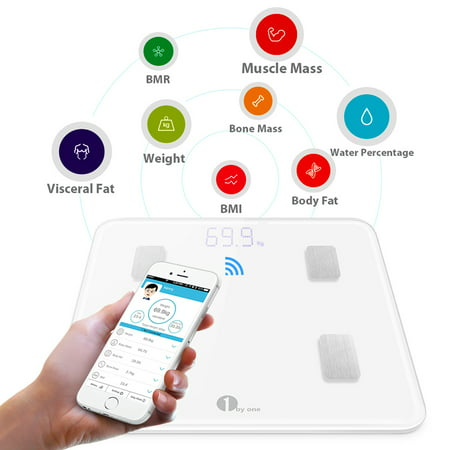 1byone Digital Smart Wireless Body Fat Scale Weight scale with IOS and Android App to Manage Body weight, Body Fat, Water, Muscle Mass, BMI, BMR, Bone Mass and Visceral Fat, White with