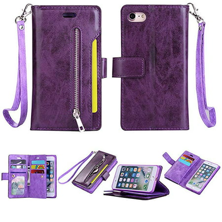 Soft Leather Case Cover - iPhone 6S/ 6 Zipper Wallet Case, Allytech [Magnetic Closure] Multi-Functional Handbag Stand Function Folio PU Leather Flip Cover Inner Soft TPU Case for iPhone 6S/ iPhone 6, Purple