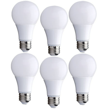 6 Pack Bioluz LED 60 Watt Light Bulb Replacement Warm White Non-Dimmable A19 LED Light