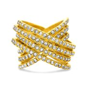 Lesa Michele Womens Crystal Multi Strand X Ring in Goldtone Stainless Steel