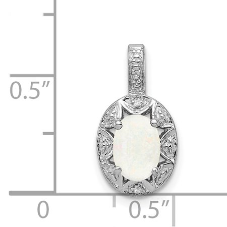 925 Sterling Silver Rhodium Plated Diamond and Created Opal Pendant - image 1 de 2